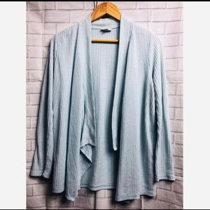 J. Jill Baby Blue Draped Thermal Open Cardigan
